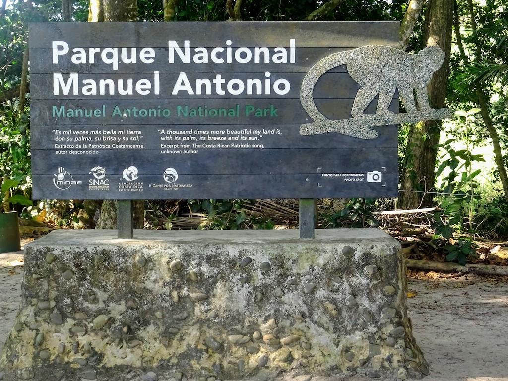 Costa Rica Manuel Antonio National park sign