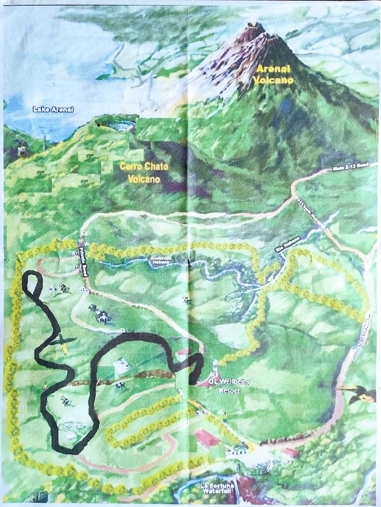 Costa Rica Arenal Cerro Chato map