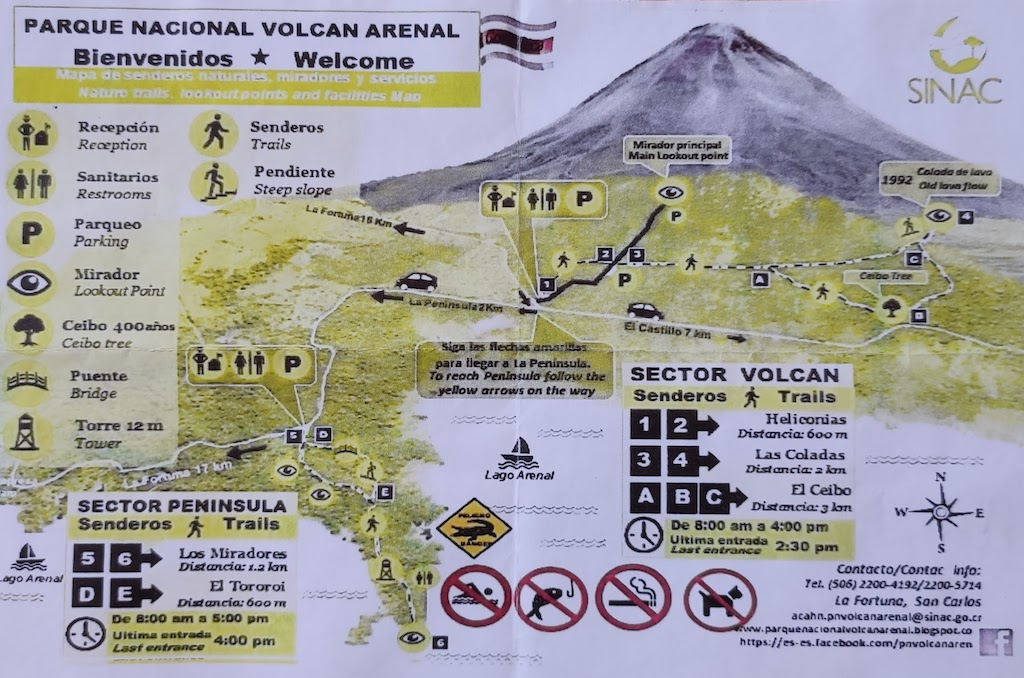 Costa Rica Arenal national park map