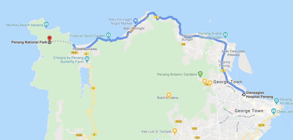 Malaisie Penang parc national google map