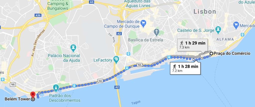 Portugal Lisbonne map to Belem