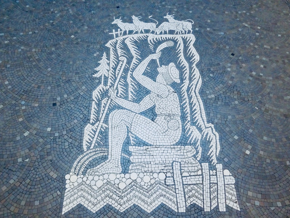 France Aix-Les-Bains Petriaux thermal bath floor mosaic