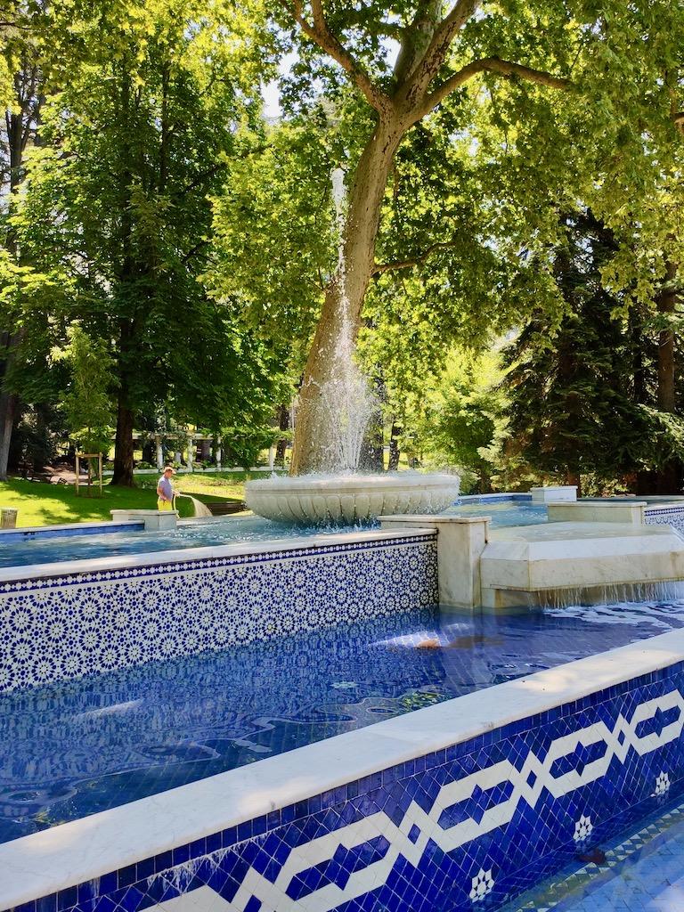 France Aix Les Bains Thermal park marocain fountain jet