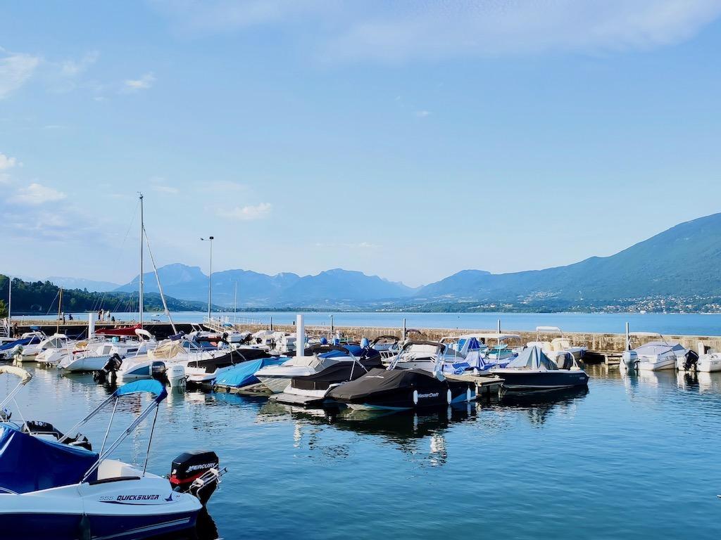 France Aix les Bains Big port boats Bourget lake