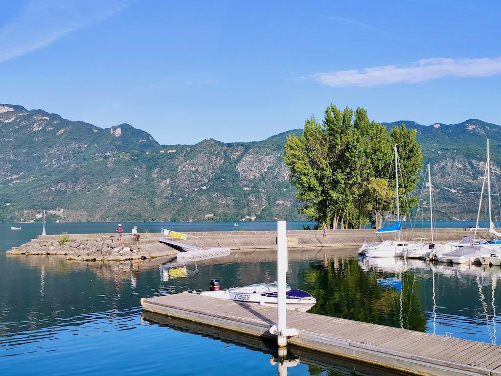 France Aix les Bains Big port pier Bourget lake