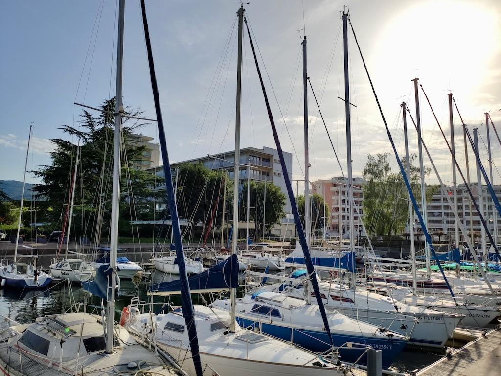 France Aix les Bains Small port marina Bourget lake